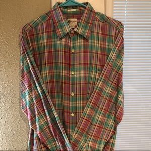 JCrew: Casual plaid button down, L